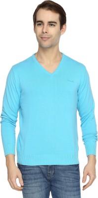 Wrangler Solid V-neck Casual Men's Light Blue Sweater