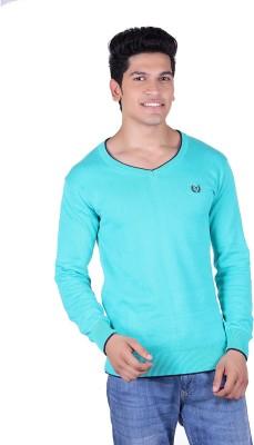 Ogarti Solid V-neck Casual Men,s Blue Sweater