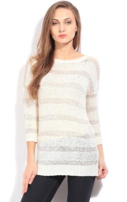 Arrow Self Design Round Neck Casual Women's White Sweater