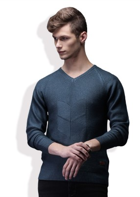 WROGN Self Design V-neck Casual Mens Blue Sweater
