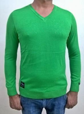 Locus Classicus Solid V-neck Men's Light Green Sweater