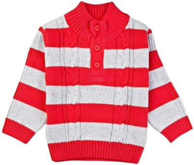 Mom & Me Striped Round Neck Casual Boy's Red Sweater