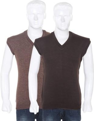 Vivek Solid V-neck Casual Men's Reversible Black, Brown Sweater