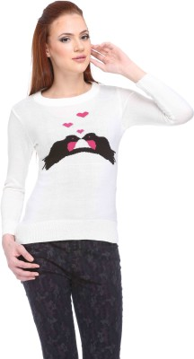 CLUB YORK Solid Round Neck Casual Women,s White Sweater