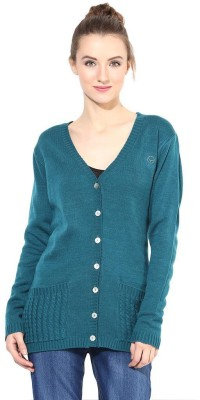 The Vanca Solid V-neck Casual Women's Green Sweater