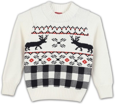 Lilliput Self Design Round Neck Casual Boy's White Sweater
