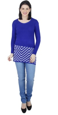 Camey Striped Round Neck Casual Women's Blue Sweater