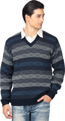Aarbee Striped V-neck Casual Men's Multicolor Sweater
