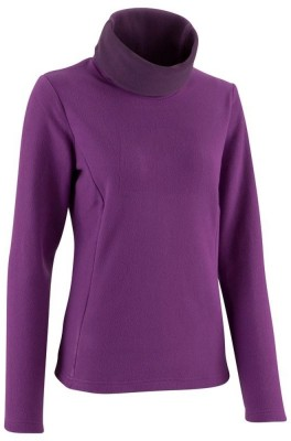 Quechua Solid Turtle Neck Casual Women's Black Sweater