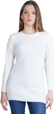 Montrex Woven, Solid Round Neck Casual, Festive, Party Women's White Sweater