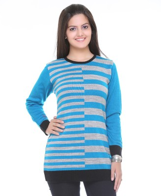 Cee-For Striped Round Neck Casual Women's Light Blue Sweater