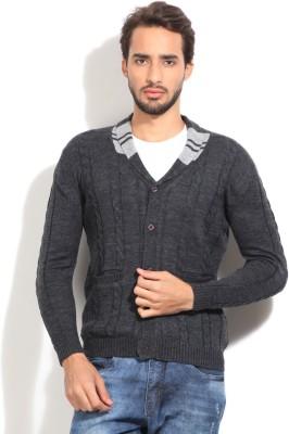 John Players Self Design Casual Men's Grey Sweater