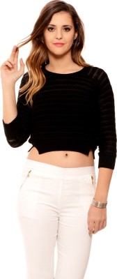 MSMB Solid Round Neck Casual Women's Black Sweater