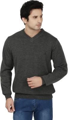 Fizzaro Solid V-neck Casual Men's Grey Sweater