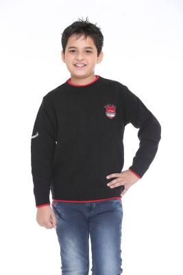 Superkids Solid Round Neck Casual Boy's Black Sweater
