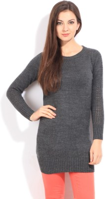 Wrangler Solid Round Neck Casual Women's Grey Sweater