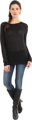 Fashion Haven Solid Round Neck Casual Women's Black Sweater
