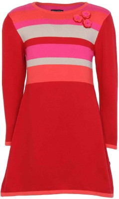Bells and Whistles Striped Round Neck Girl's Red Sweater