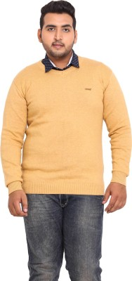 John Pride Solid V-neck Casual Men's Yellow Sweater