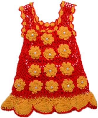 AV Embroidered Round Neck Casual Girl's Red, Yellow Sweater
