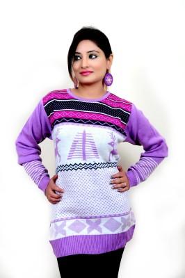 Laadli Ji Woven Round Neck Women,s Pink Sweater