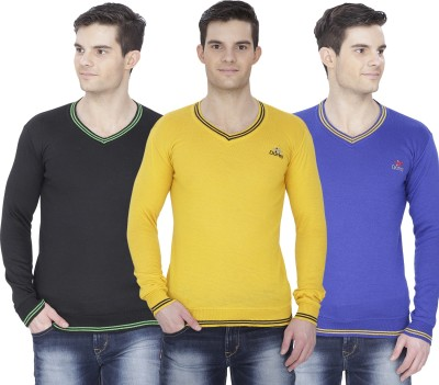 Alay Solid V-neck Casual, Party, Formal, Festive, Lounge Wear, Sports Men's Black, Dark Blue, Yellow Sweater
