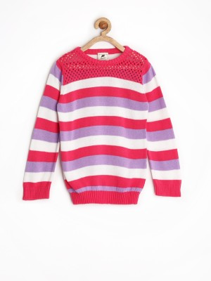 Yellow Kite Striped Round Neck Casual Girl's Pink Sweater