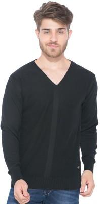 Status Quo Solid V-neck Casual Men's Black Sweater