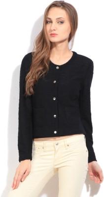 Arrow Self Design Casual Women's Black Sweater