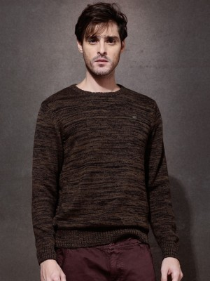 Roadster Self Design Round Neck Casual Men's Brown Sweater