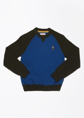 U.S. Polo Assn. Solid Round Neck Casual Girls Blue Sweater