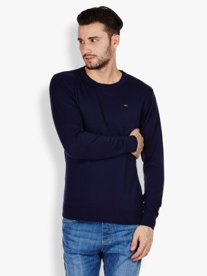 Locomotive Solid Round Neck Casual Men's Blue Sweater