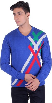 Ogarti Striped V-neck Casual, Party, Festive Men's Blue Sweater