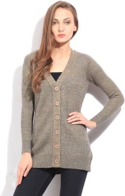Arrow Self Design Casual Women's Beige, Blue Sweater