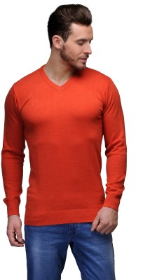 Tailor Craft Solid V-neck Casual Men's Orange Sweater