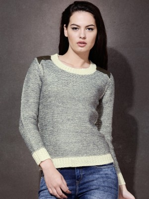 Roadster Solid Round Neck Women's Grey Sweater