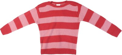 FS Mini Klub Striped Round Neck Casual Girl's Pink Sweater