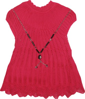 Camey Self Design Round Neck Formal Girl's Red Sweater