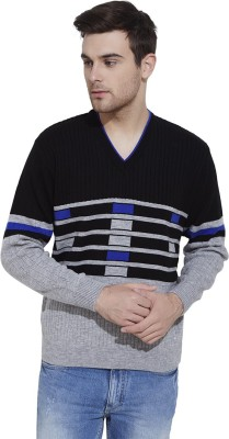 Urban Nomad By INMARK Self Design V-neck Casual Men's Grey, Black Sweater