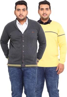 John Pride Solid V-neck Casual Men's Grey, Yellow Sweater