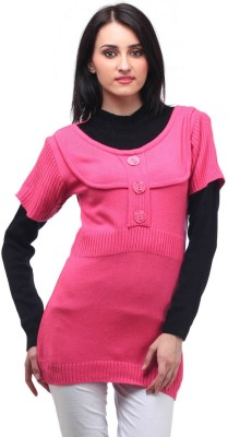 Stylistry Striped Round Neck Casual Women's Pink Sweater