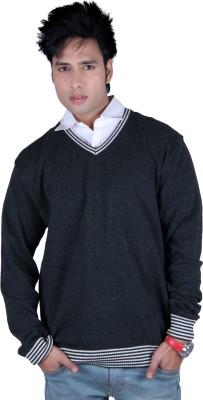 Deutz Solid V-neck Casual Men's Dark Green Sweater