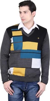 BRAVEZI Graphic Print V-neck Casual Men,s Grey, Black, Yellow, Multicolor Sweater