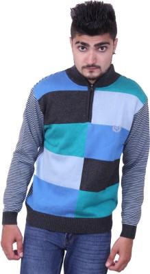Austrich Self Design Round Neck Casual Men's Grey Sweater