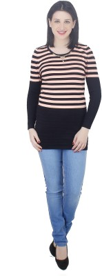 Camey Striped Round Neck Casual Women's Pink Sweater
