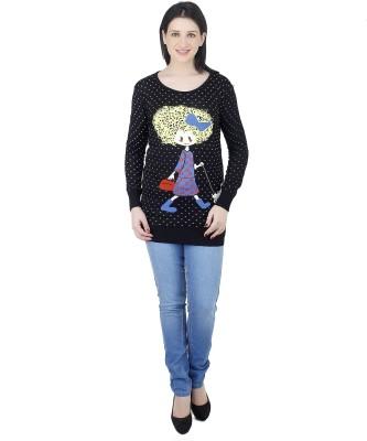 Camey Polka Print Round Neck Casual Women's Dark Blue Sweater