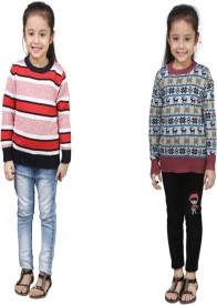 Crazeis Printed Round Neck Casual Girls Red, Red Sweater