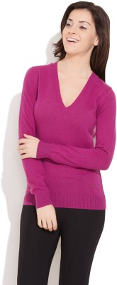 United Colors of Benetton Solid V-neck Casual Women Pink Sweater at flipkart