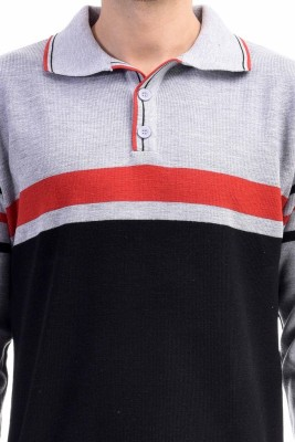 CLUB AVIS USA Striped Turtle Neck Casual Men's Grey Sweater
