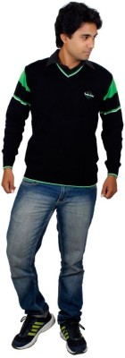 Alpine Enterprises Solid V-neck Men's Black Sweater